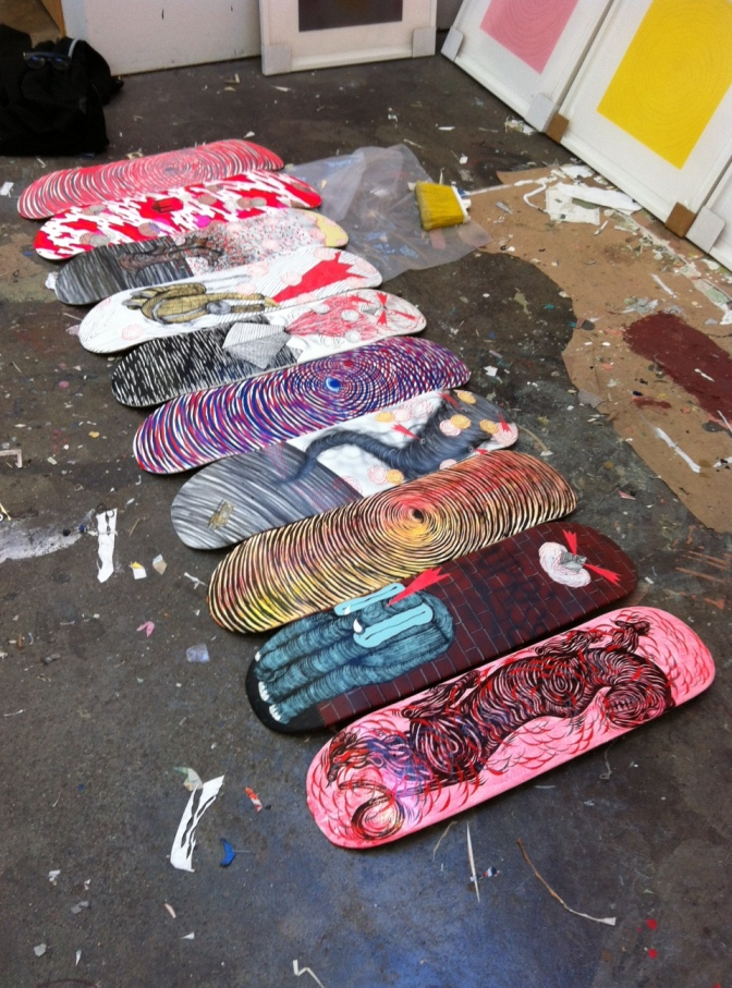 Example painted skateboard decks (Courtesy of Andrew Schoultz)