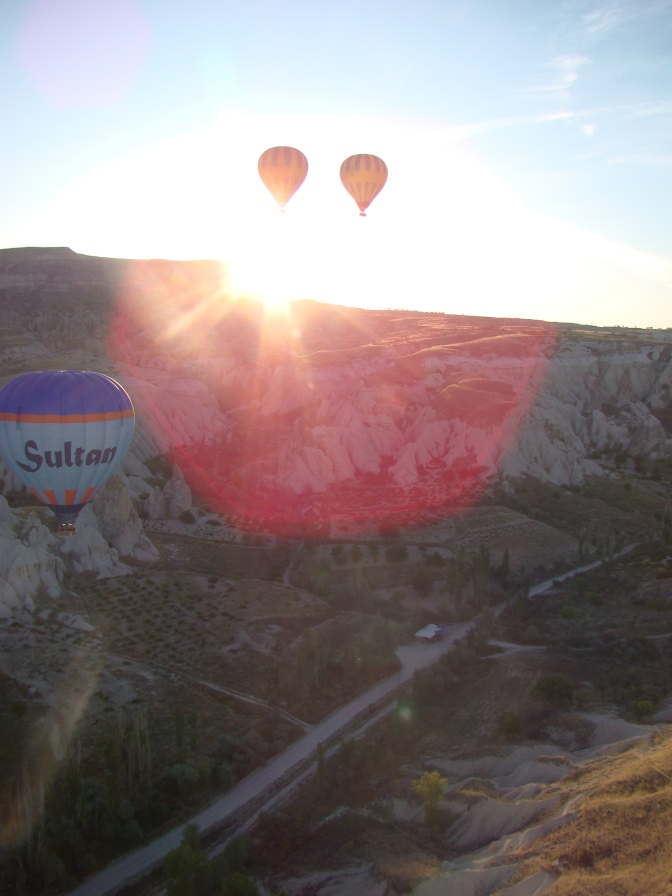 """Cappadocia during the """"golden hour"""" ,the first  hour of sunlight of the day."""