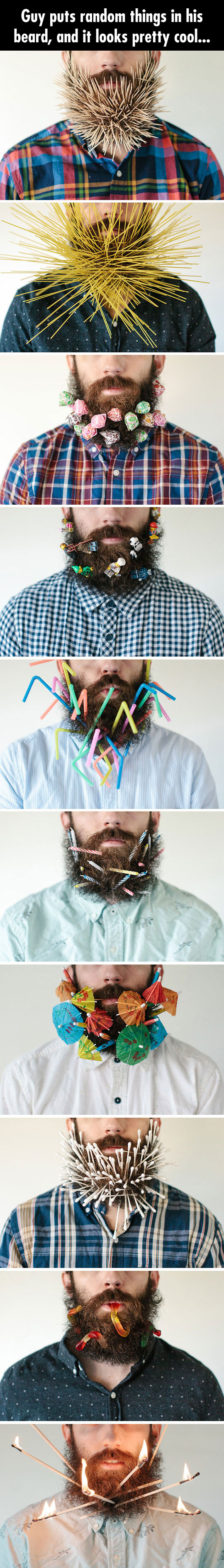 Guy Puts Random Things In His Beard, And It Looks Pretty Cool