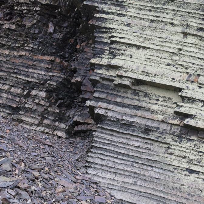 Sedimentary rock layers near Aberystwyth, Ceredigion.
