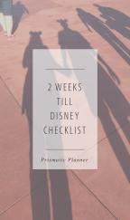 2 Weeks till Disney Checklist