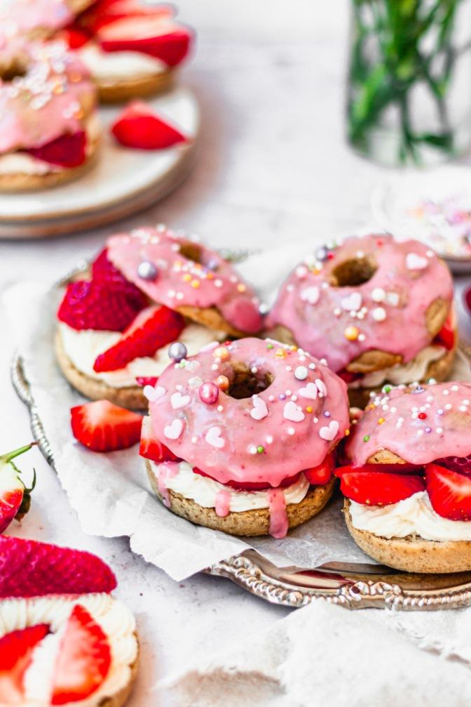 Strawberries and Cream Donut Sandwiches